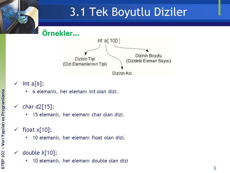 3.1 Tek Boyutlu Diziler Örnekler... int a[6]; char d2[15];